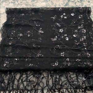 Brand new sheer black floral embroidered shawl